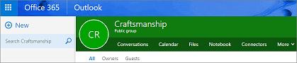 Ini adalah pengepala Kumpulan rupa dalam Outlook pada web