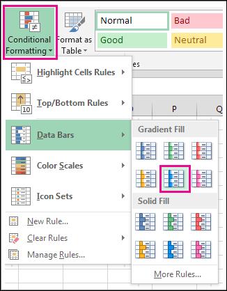 Galeri gaya Bar Data pemformatan bersyarat