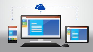 Telefon, komputer desktop dan tablet yang menunjukkan dokumen yang disimpan dalam OneDrive