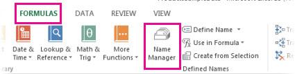 Klik tab Formula dan kemudian klik Pengurus Nama