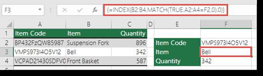 Menggunakan INDEX dan MATCH untuk mencari atas nilai lebih daripada 255 aksara