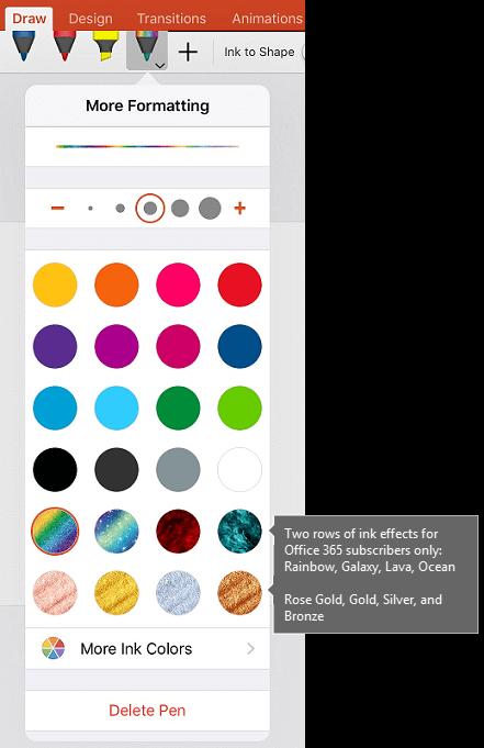 Dakwat warna dan kesan untuk melukis dengan dakwat dalam Office pada iOS