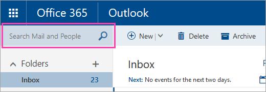 Petikan skrin kotak Cari mel dan individu