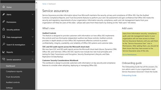 Petikan skrin dashboard jaminan Perkhidmatan Office 365 Keselamatan & Pusat pematuhan, yang termasuk maklumat tentang apa yang baru, dan pautan untuk menambah pengguna dan panduan Pusat.
