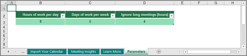sesuaikan pola kerja dalam lembaran kerja Parameter
