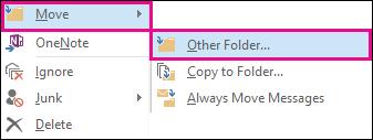 Klik Alihkan dan kemudian pilih Folder Lain