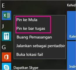 Pin aplikasi Office pada Mula atau bar tugas dalam Windows 10