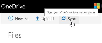 OneDrive untuk butang segerak Business diserlahkan