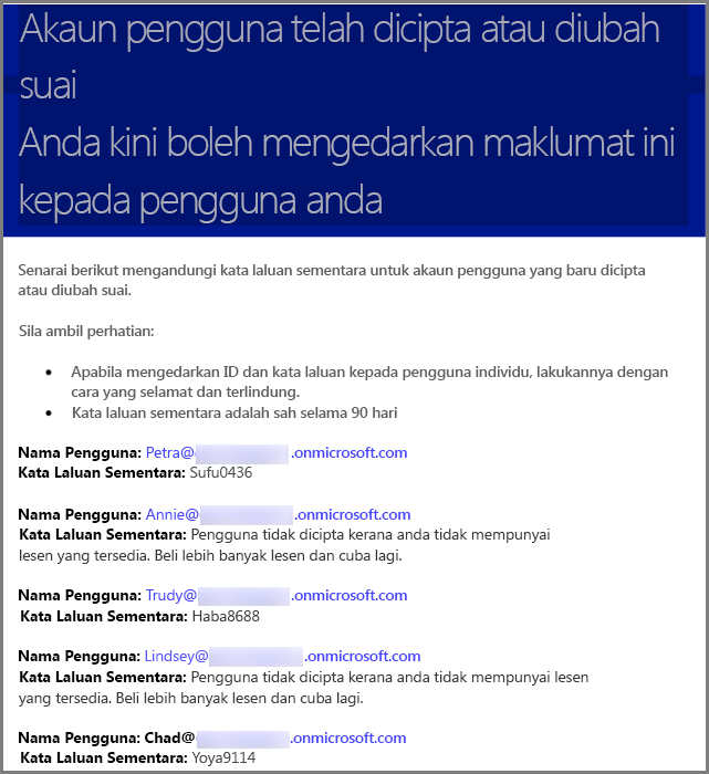 Sampel e-mel dengan maklumat kelayakan pengguna