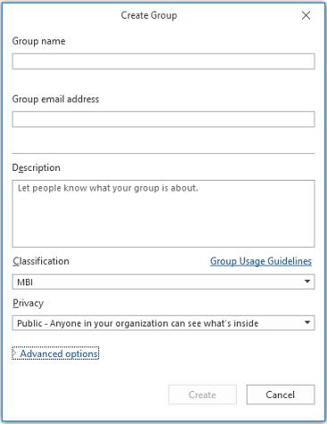 Halaman maklumat Kumpulan dalam Outlook