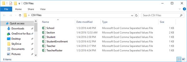 Semua fail CSV mesti terkandung dalam direktori yang sama