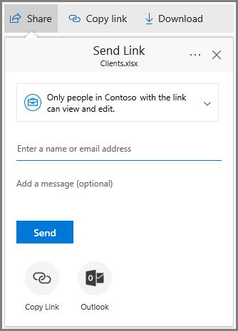 Petikan skrin perkongsian kotak dialog yang menunjukkan Pautan perkongsian untuk individu dalam organisasi.