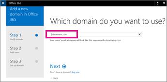 Jenis domain yang anda ingin gunakan dalam Office 365