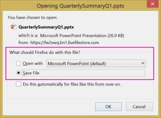 Apa yang perlu dilakukan oleh Firefox pada fail ini?