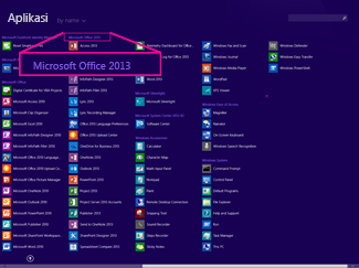 Cari aplikasi Office mengikut nama