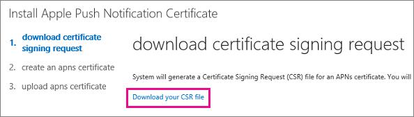 Muat turun fail permintaan menandatangani sijil.