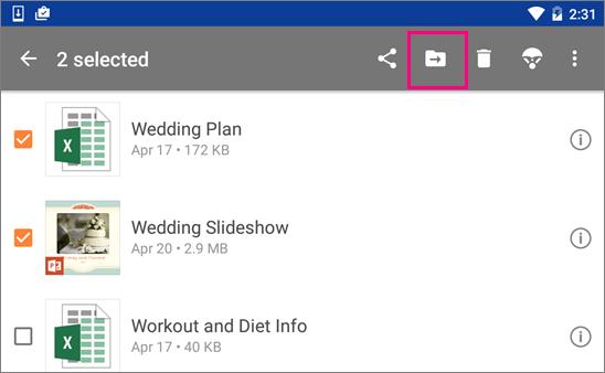 Alihkan fail dalam OneDrive