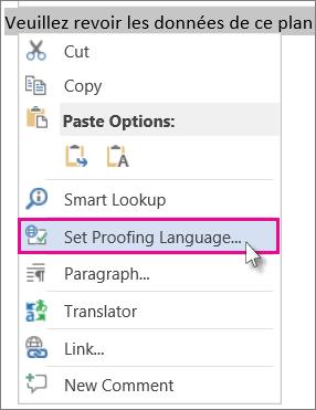 Klik kanan dan klik Setkan Bahasa Pruf