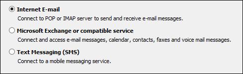 Outlook 2010 pilih perkhidmatan untuk akaun baru