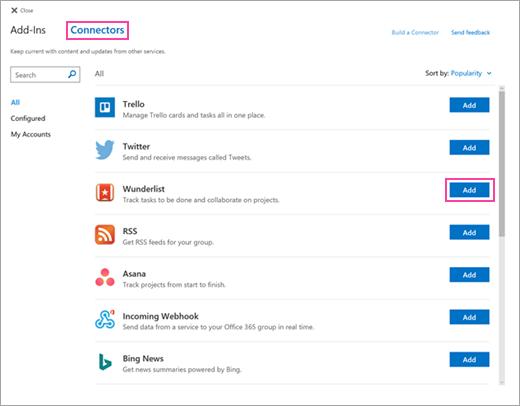 Petikan skrin Perkhidmatan disambungkan yang tersedia dalam Outlook pada web