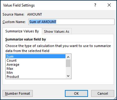 Dialog seting medan nilai Excel untuk Ringkaskan nilai mengikut pilihan