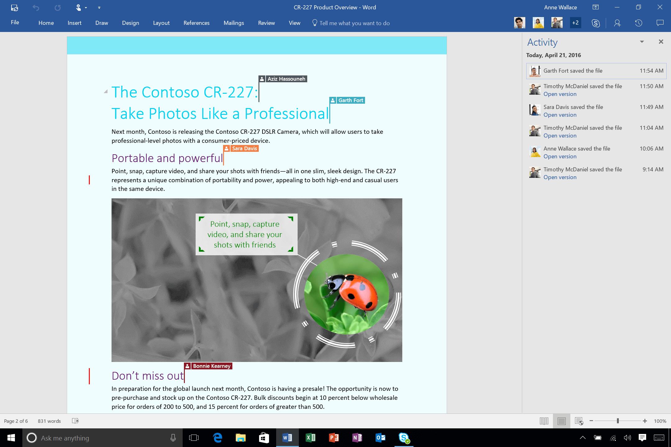 Klik butang aktiviti ke bahagian atas kanan atas skrin untuk mendapatkan tetingkap aktiviti, tempat anda boleh melihat atau membuka versi terdahulu dokumen.