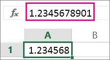 Nombor kelihatan dibundarkan pada lembaran kerja tetapi dalam format penuh pada bar formula