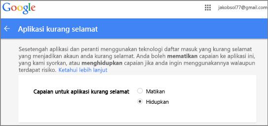 Anda perlu masuk ke dalam Google Gmail untuk membenarkan capaian Outlook
