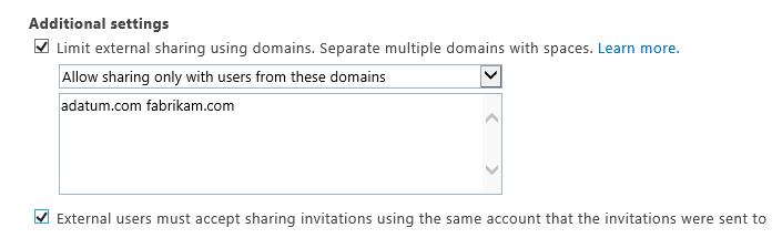Seting tambahan untuk mengehadkan perkongsian luaran dalam Office 365 SPO