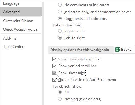 Menunjukkan tab helaian dalam opsyen Excel