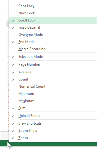 Klik kanan bar status untuk menyesuaikan