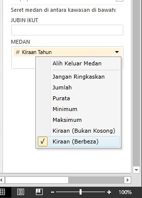 pilih Kiraan (Jelas) dalam Medan Power View