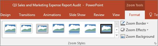 Menunjukkan gaya zum dan kesan yang anda boleh memilih tab Format dalam PowerPoint yang berbeza.