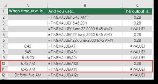 Output pelbagai fungsi TIMEVALUE