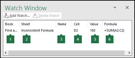 Tetingkap pengawas membolehkan untuk memantau formula yang digunakan dalam lembaran kerja dengan mudah