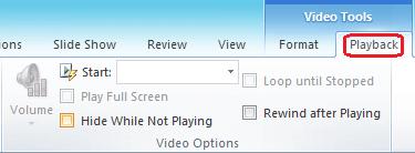 Tab main semula pada reben PowerPoint mempunyai opsyen untuk memilih cara untuk memainkan video.