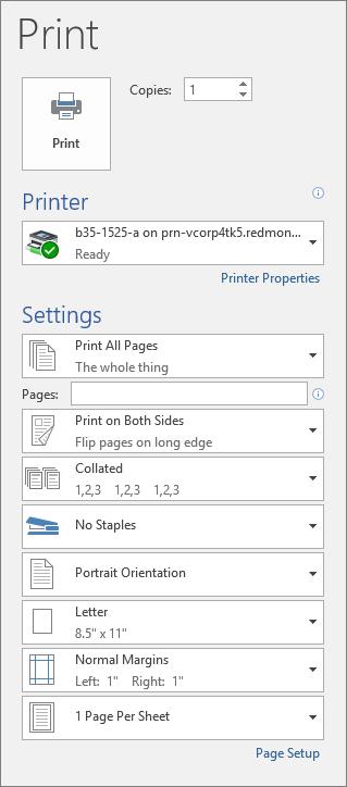 Petikan skrin tetingkap cetak dengan pelbagai seting cetak, seperti bilangan salinan.