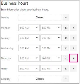 Waktu perniagaan halaman dengan tanda diserlahkan
