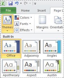 Galeri Tema dalam Excel 2010