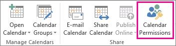 Butang Keizinan Kalendar dalam tab Outlook 2013 Home