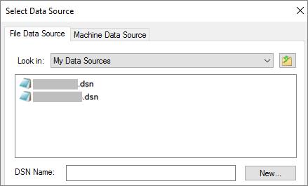 Kotak dialog Pilih Sumber Data