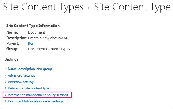 Pautan dasar pengurusan maklumat pada halaman seting untuk jenis kandungan laman