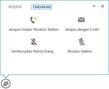 petikan skrin menu yang memapar apabila penuding diletakkan di atas butang individu, dengan tab tindakan terpilih