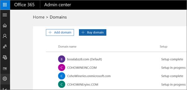 Pada halaman Uruskan domain, klik Beli domain