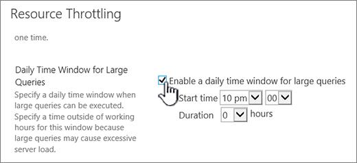 Halaman seting aplikasi Pentadbiran Pusat dengan tetingkap masa harian diserlahkan