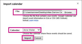 kalendar google - dialog kalendar import