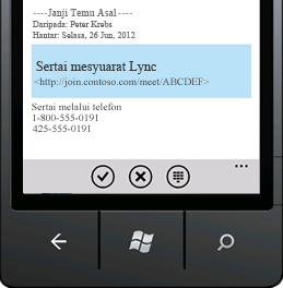 Petikan skrin yang menunjukkan Sertai Mesyuarat Lync daripada peranti mudah alih anda