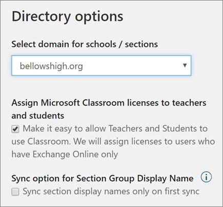 Petikan skrin pemilihan domain untuk penyegerakan profil dan kotak semak untuk memperuntukkan lesen Microsoft Classroom dan nama paparan Kumpulan Seksyen di sekolah Data penyegerakan