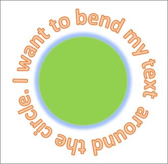 Teks dilengkokkan mengelilingi bentuk bulatan