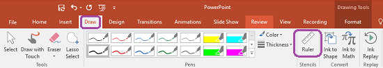Stensil Pembaris berada pada tab Lukis reben dalam PowerPoint 2016.